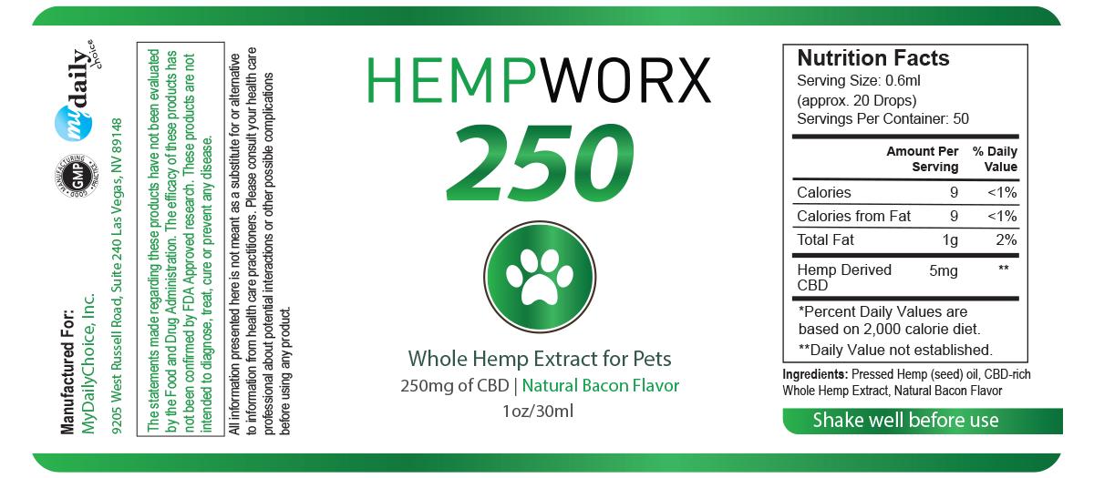 HempWorx CBD oil ingredients - HempWorx for Pets 250