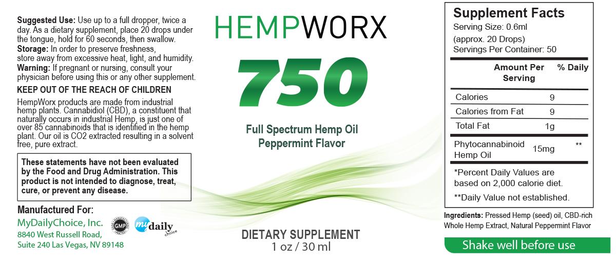 HempWorx CBD oil ingredients - HempWorx 750 Peppermint
