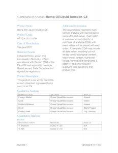 HempWorx CBD Oil Certification