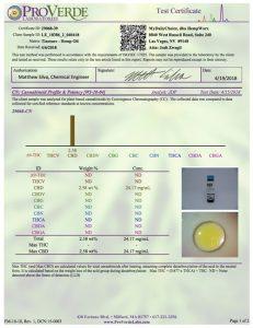 ProVerde CBD Oil Certification 6-2018